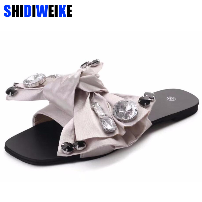 2018 Beach Slides Fashion Solid Women Shoes With Rhinestone Butterfly-knot Woman Sandals Summer Flats Size 35-40 m591