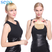 SEGO 23G Straight 2 Clips in 3D Bangs Human Hair Extension Non-Remy Blunt Bang 15*15cm Brazilian Hair Blonde Color Front Fringes