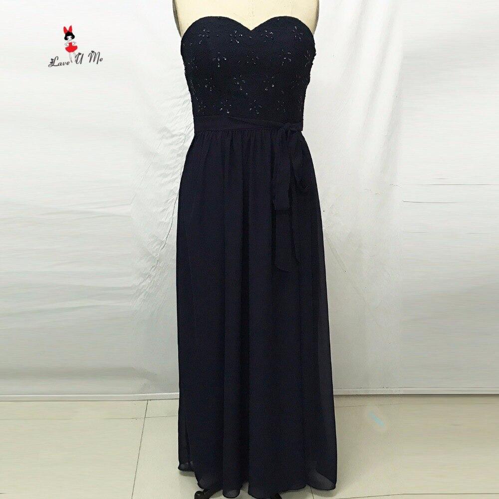 US $85.6 20% OFF|Navy Blue Plus Size Bridesmaid Dresses Long Lace Beads  Wedding Guest Wear Sash Sweetheart Floor Length Chiffon Vestido Madrinha-in  ...