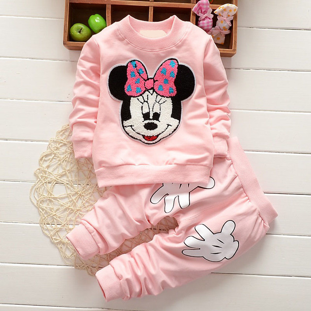 2019 Newborn Baby Girls Clothes Set Cartoon Long Sleeved Tops + Pants 2PCS Outfits Kids Bebes Clothing Childrens Jogging Suits 3