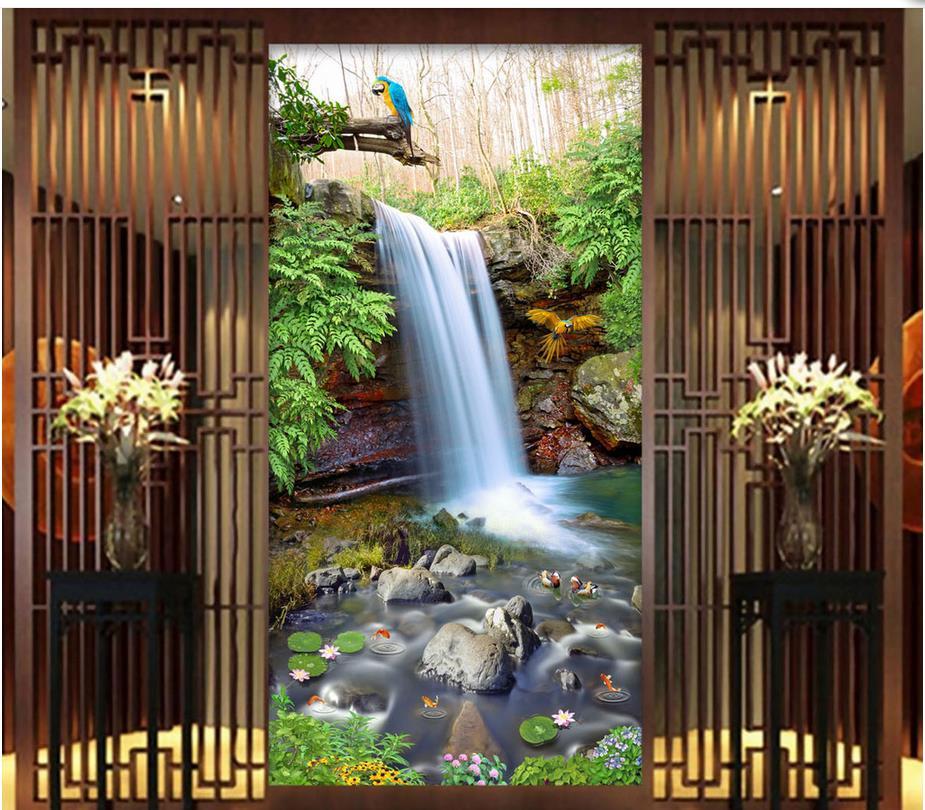 d papel tapiz para sala de montaa cascada primavera piscina paisaje pintura telones de fondo d