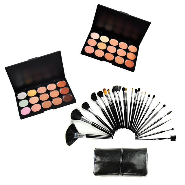 New 24pcs Foundation Blusher Lip Eye Set Makeup Brushes with Black Bag + 15 Color Face Contour Concealer Powder Cosmetic Palette