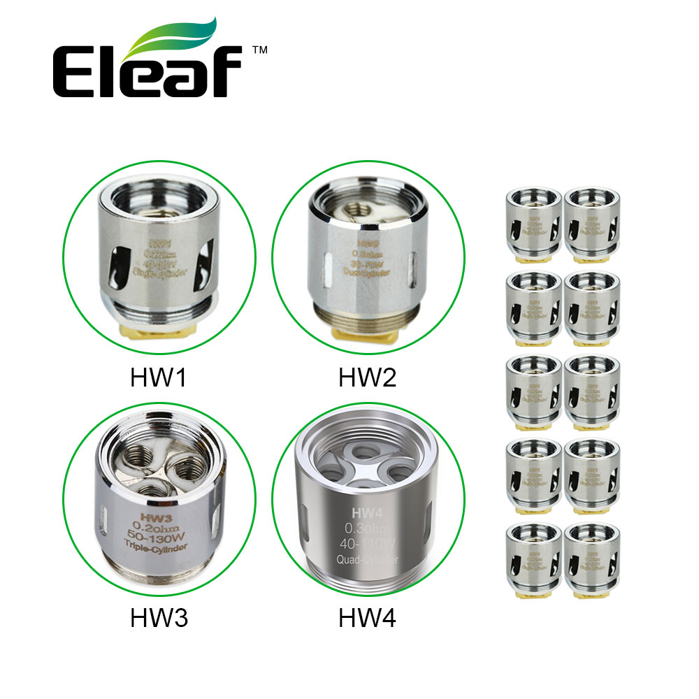 10pcsEleaf HW Coil Head HW1 0.2 Ohm/HW2 0.3 Ohm For Ello Mini VS HW3 0.2 Ohm/HW4 0.2 Ohm For Ello/Ello Mini/Ello Mini XL E-cig