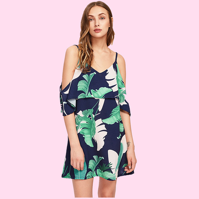 87f6a1a393a7d US $21.4 |Backless Fitted Slip Dress Green Tropical Print Sexy Women Summer  Dresses 2018 Ruffles Slash Neck Bodycon Club Mini Party Dress-in Dresses ...