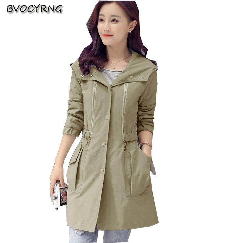 New Korea 2017Fashion Big Yards Women Autumn Winter Sexy Slim Coat Pure Color Hooded Long-sleeved High-end Medium Long Coat Q436