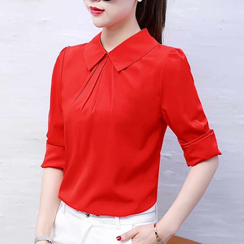 cff824be7923 BIBOYAMALL блузки женские осенние Топы и блузки с длинным рукавом  Повседневная шифоновая блузка Женская рабочая одежда