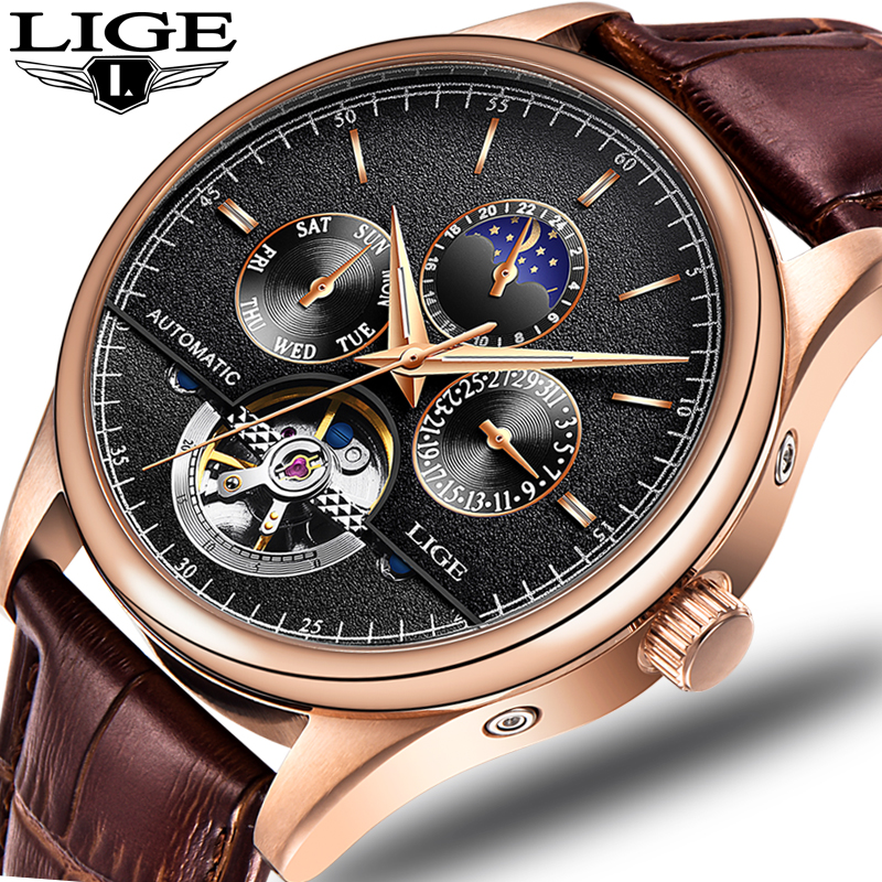 LIGE 2018 New Men Full automatic Mechanical Watch Tourbillon Luxury Fashion Brand Genuine Leather Man Multifunctional