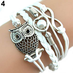 Bluelans Bracelets Charm Multilayer Infinity Women Heart for Pearl Owl Cute
