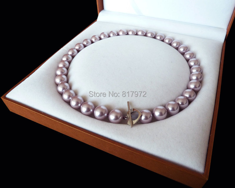 Elegant Light Purple Natural South Sea Shell Pearl Bead Highlight AAA Round Bead 12MM 16mm Necklaces