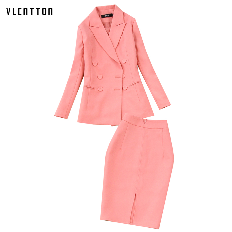 2019 New Two Piece Set Women Double Breasted Long Sleeve Office Blazer jacket and Slim Skirt Woman Suit Spring autumn Pink Set