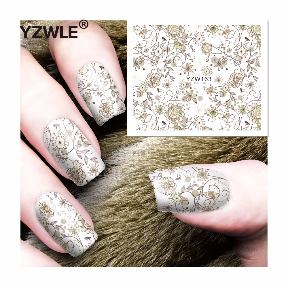YZWLE 1 Sheet DIY Decals Nails Art Water Transfer Printing Stickers Accessories For Manicure Salon (YZW-163) yzwle 1 sheet hot gold 3d nail art stickers diy nail decorations decals foils wraps manicure styling tools yzw 6015