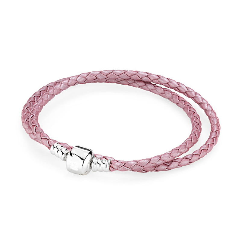 16-44cm 925 Sterling Silver Bracelet Genuine leather Barrel Clasp Snake Chain Bracelets Fit Women DIY Bead Charm Europe Jewelry