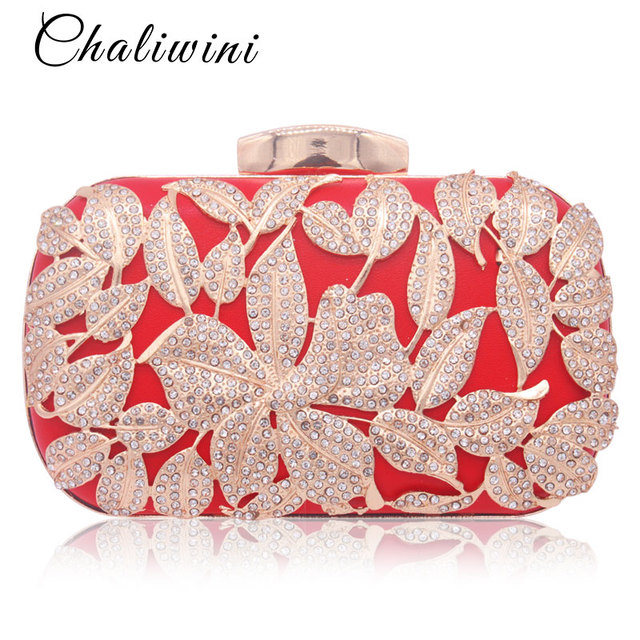 bf9c3e1367 Metallic Leaf Gold Lady Clutch Bag Red Beaded Wedding Toiletry Package  Party Purse Pochette Bag Crystal Messenger Evening Bags