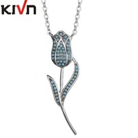 KIVN Fashion Jewelry Delicate Pave CZ Cubic Zirconia Blue Stone Rose Pendant Necklaces Womens Girls Promotion