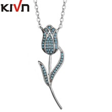 KIVN Fashion Jewelry Delicate Pave CZ Cubic Zirconia Rose Pendant Necklaces for Womens Girls Christmas Promotion Birthday Gifts