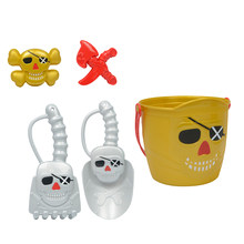 Kids Beach Play Toy Sets, Bucket with Shovels & Molds (Pirate Theme) Summer Party Activity for Building Sand Castles(China)