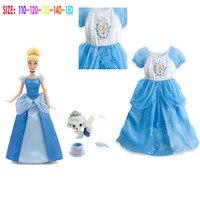 Retail New 2015 Girls Cartoon Cinderella Princess Dress Children Summer Party Dresses Kids Fashion Dress Outwear