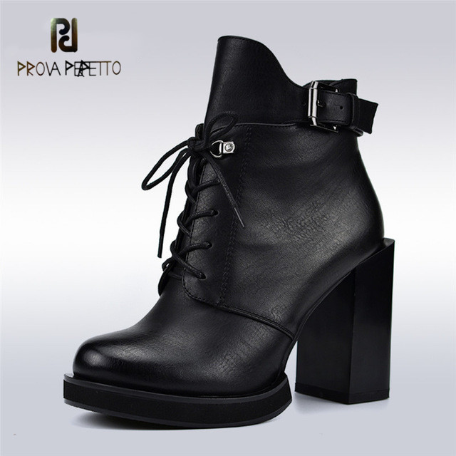 Prova perfetto New Fashion Lace Up Women Boots Square High Heels Side Zip Buckle Strap Women