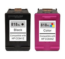 1set 2pcs Black & Color Compatible Ink Cartridges For HP 818xl cc641z cc644z for hp Deskjet D2500/D2568/D2600/D2668 Printer