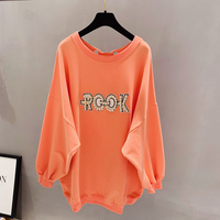 2019 Korean Kpop Tumblr Women Tshirt Cotton Casual Full Sleeve Knitted Long Cloth Letter Printed O neck Batwing Plus Size Loose