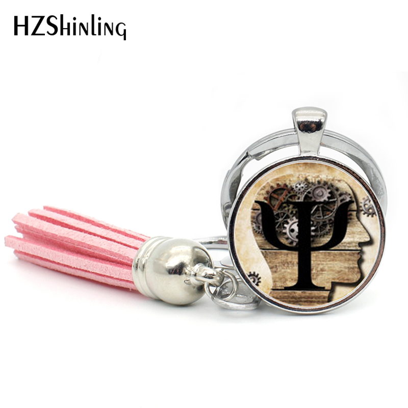 2017 Fashion PSI Symbol Tassel Keyring Psychology Keychain Silver Round Jewelry Glass Dome Keychains Bohemian Gifts For Men