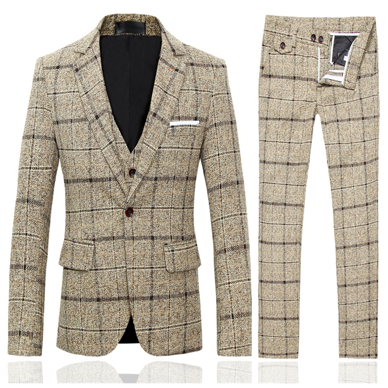 Men Plaid Jacket & Pant Slim Design Men Dress 2Piece Set Asian Size S XXXXXL Men Wedding Set High Quality