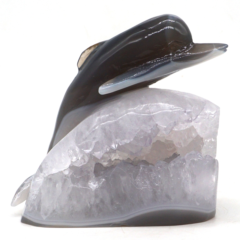 Dolphin Statue 4.3 Natural Gray Agate Crystal Geode Carved Stone Home DecorDolphin Statue 4.3 Natural Gray Agate Crystal Geode Carved Stone Home Decor