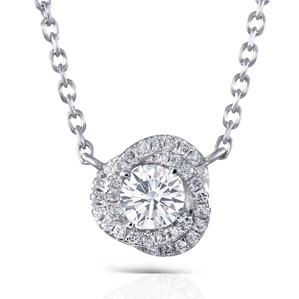 14K White Gold 0.5ct Center 5mm F Nearly Colorless Moissanite Pendant Necklace with Accents for Women Double Halo