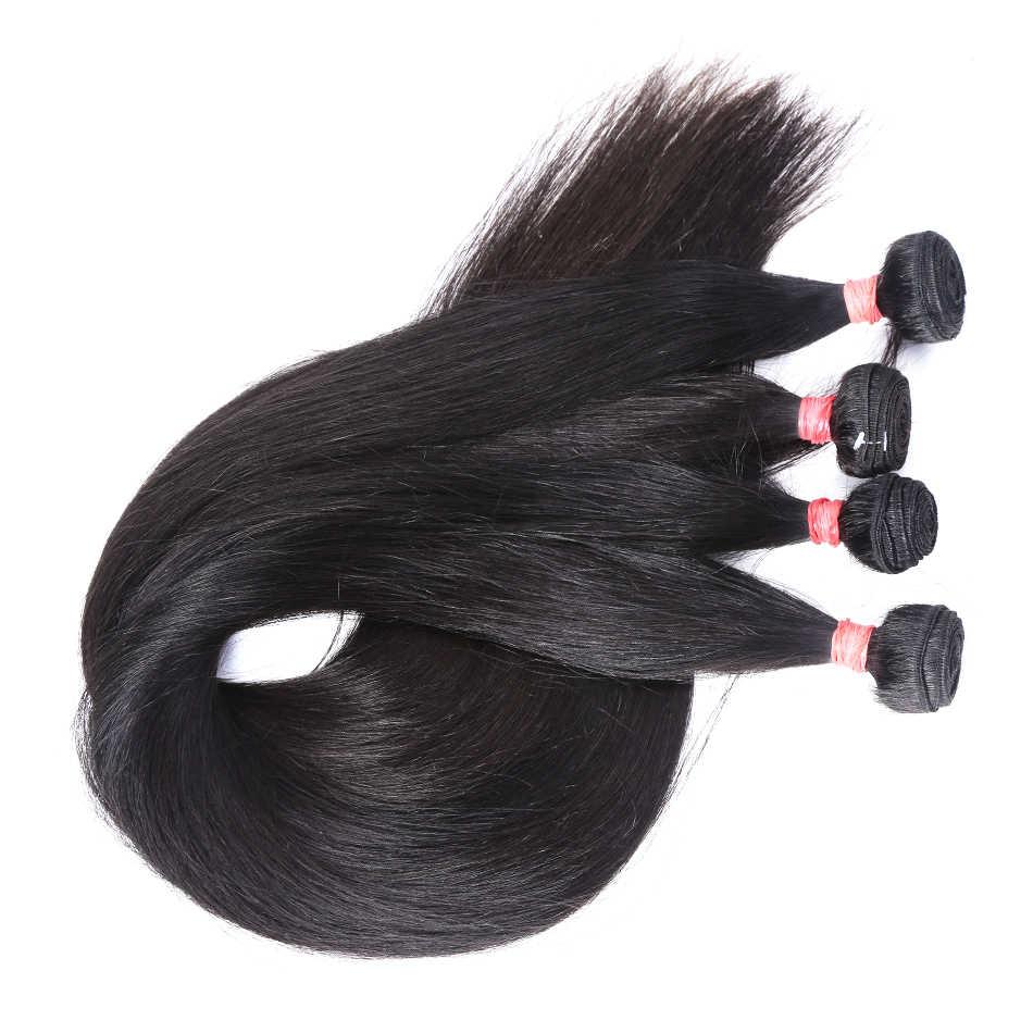 Luvinin перуанские прямые волосы плетение 28 30 40 дюймов 3 4 пучка Дело 100% человеческие волосы 6А натуральные волосы для наращивания натуральный цвет