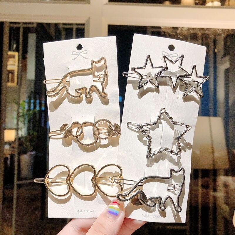 New Fashion Women Heart Star Cat Circle Geometric Metal Hairpins Hair Accessories For Girls Cute Hair Clips Barrettes Headbands