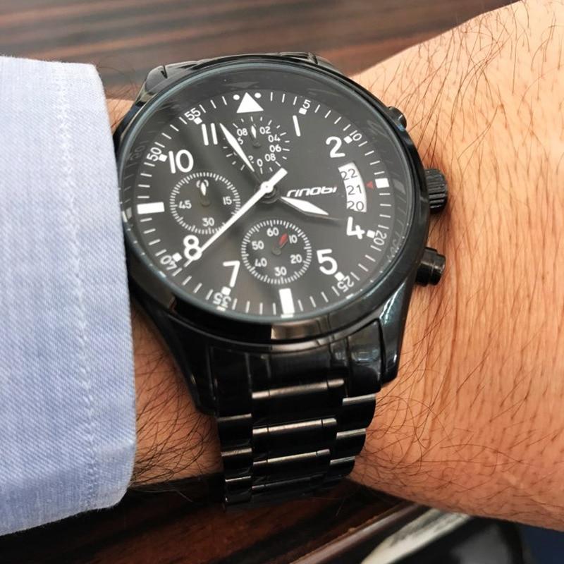 SINOBI New Pilot Mens Chronograph Wrist Watch Waterproof Date Luxury Stainless Steel Diver Males Geneva Quartz Relogio Masculino