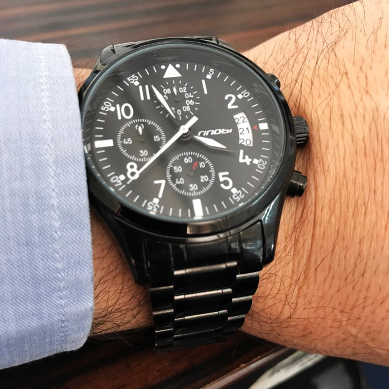 где купить  SINOBI New Pilot Mens Chronograph Wrist Watch Waterproof Date Luxury Stainless Steel Diver Males Geneva Quartz Relogio Masculino  по лучшей цене