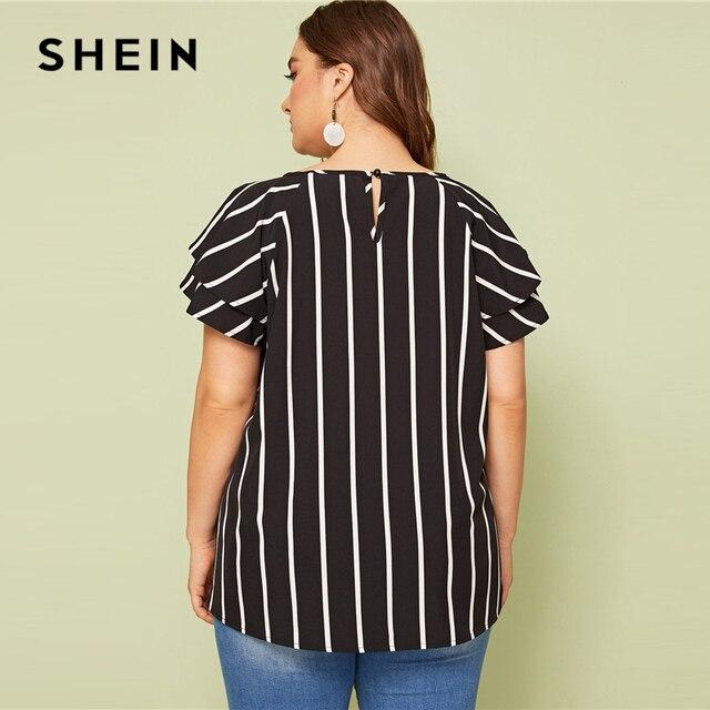 SHEIN Plus Size White Striped V Cut Front Layered Flutter Raglan Sleeve Top Women Summer Elegant Cut Out Butterfly Sleeve Shirt 3