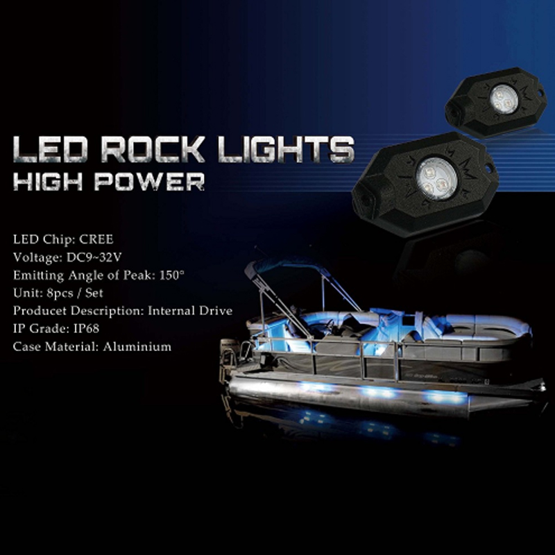 8Pcs Wireless Blue LED Boat Accent Lights Kit  Light Strips Interior Decoration
