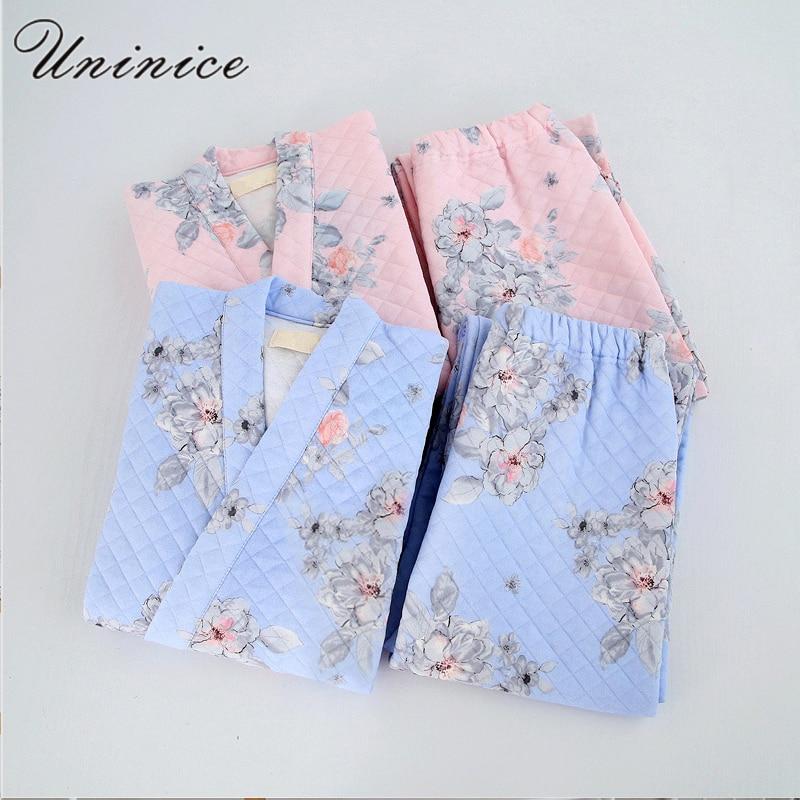 Japanese Yukata Winter Warm Robes Pajamas Tops Pants Sets Kimono Suits Thickening Cotton Bathrobe Pyjamas Sleepwear Home Leisure
