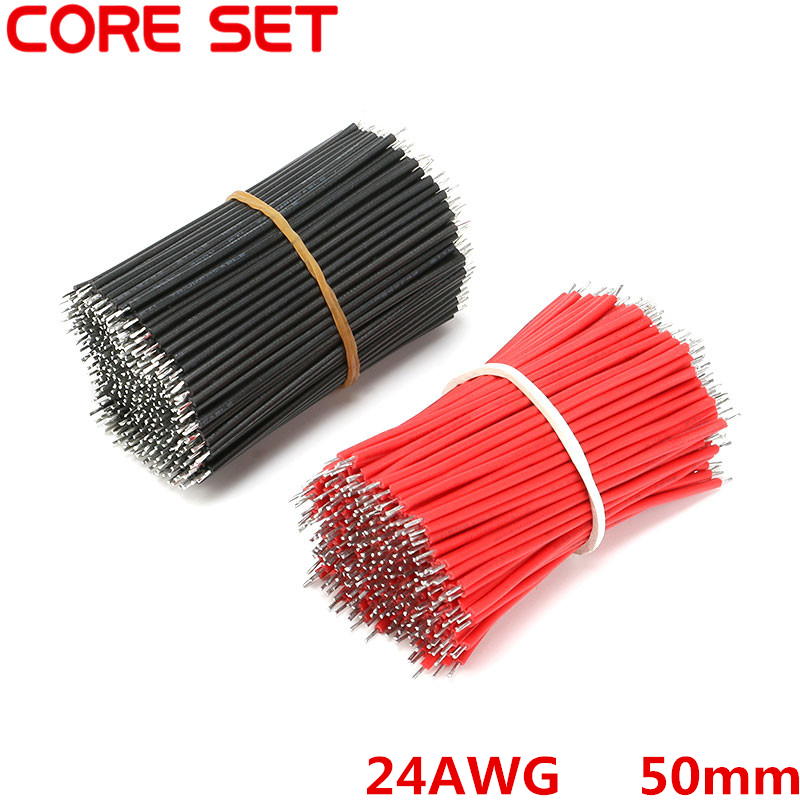 400pcs//set Tin-Plated Breadboard Jumper Cable Wire 6cm For Arduino Red Black