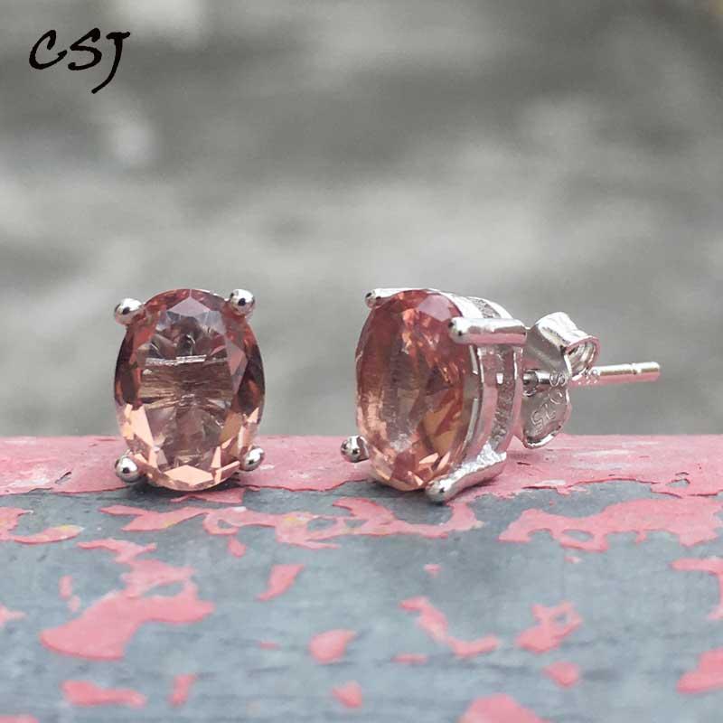 CSJ Created Diaspore Zultanite Stud Earrings 925 Sterling Silver Fine Jewelry Women Lady Wedding Engagment Party Gift