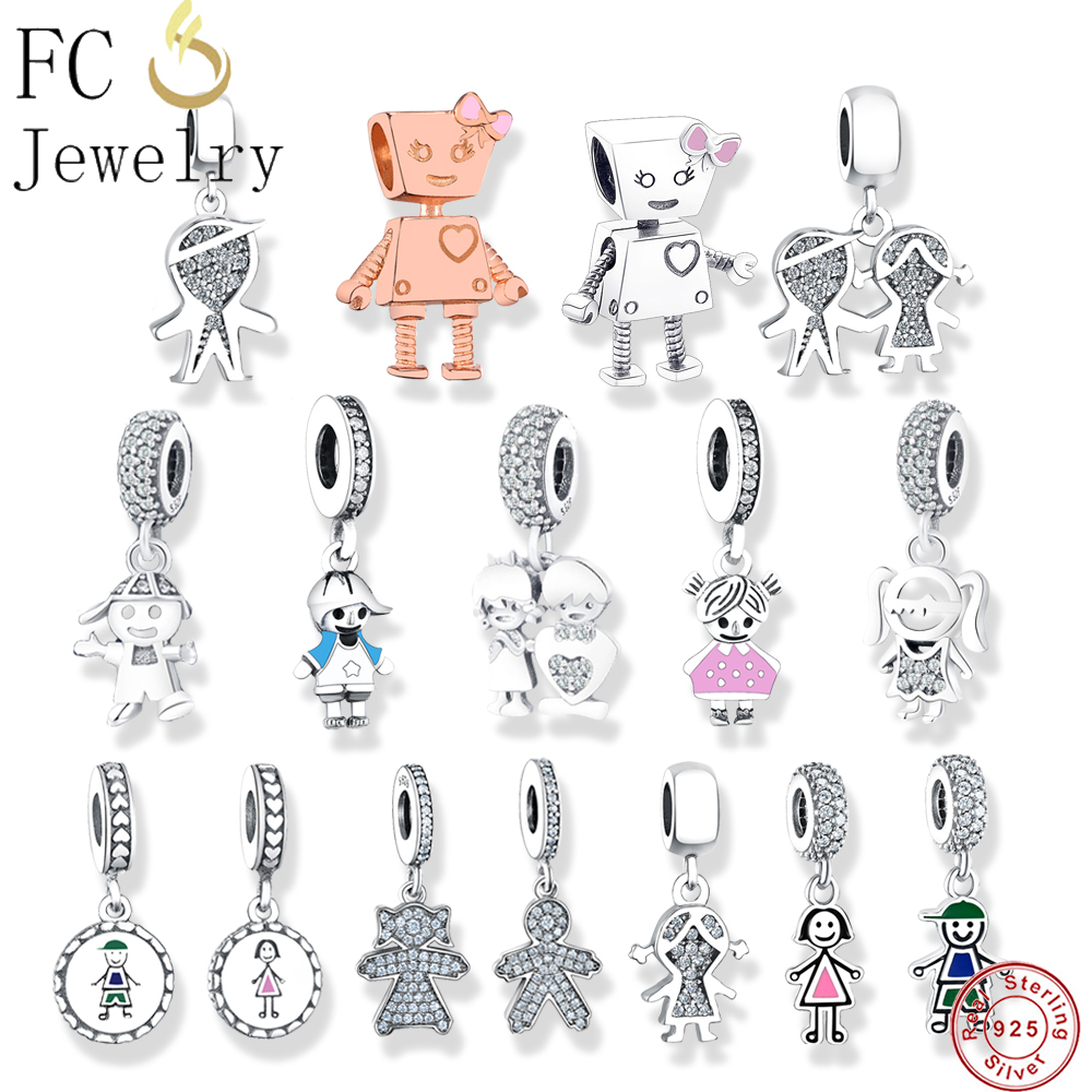 Fit Original Pandora Charms Bracelet & Necklaces 925 Sterling Silver Beads Charm Couple Little Cute Girl Boy Pendant DIY Jewelry