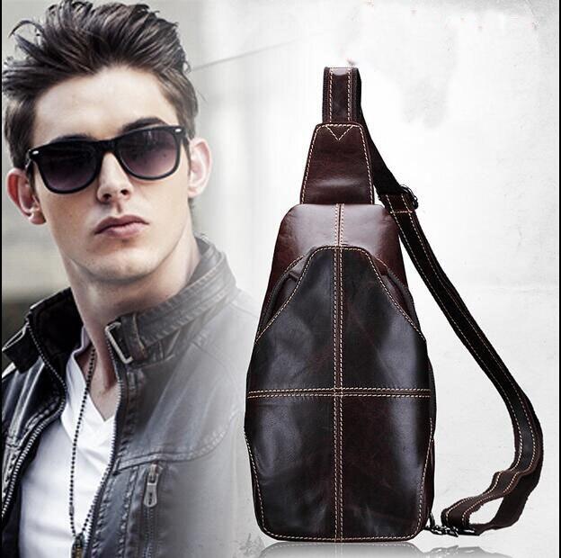 Nouveauté hommes en cuir véritable poitrine sac en cuir de vachette sac messenger sac casual cire huile en cuir petit sac