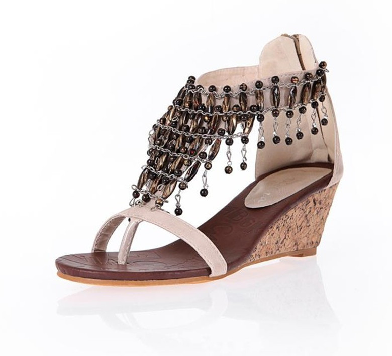 d4aefb9b8 High Fashion 2015 New Designer Women Summer Sandals Shoes Sexy High Heels  Wedges Sandals Beading Bohemian Sandals Female BX-14
