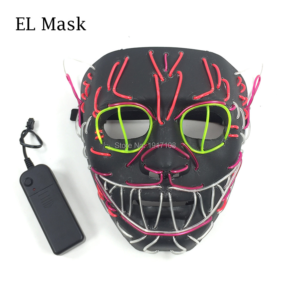 New Design Glowing Cat mask Halloween face mask el wire cold children toys LED masks festival Neon Light Party Decoration