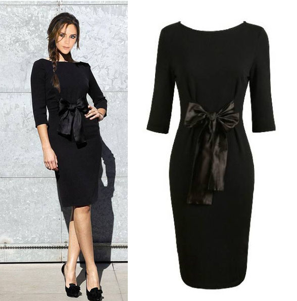Knitted cotton Victoria beckham style prom knee-length bow decoration  one-piece casual black dress D0245 46325ffbea95