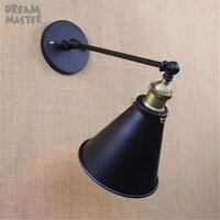 Modern Vintage Industrial Loft Metal Black Rustic Scone Wall Light Wall Lamp espejos pared cabeceira de cama light fixtures