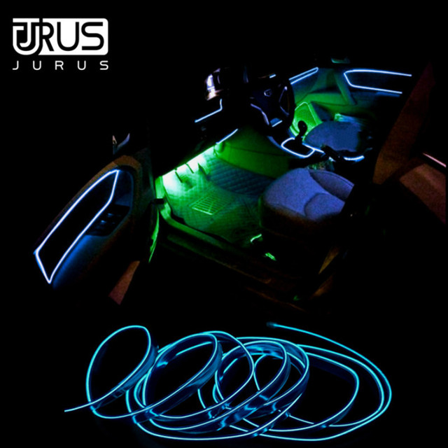 JURUS 3Meter Flexible Neon El Wire Car Lights Interior Glow 12V Led Strip Lights Cable Cold Line Decorative Lamp Auto Accessorie