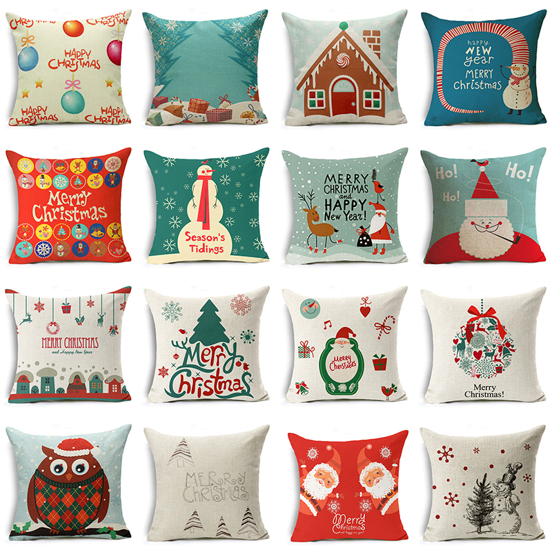 Let It Snow Xmas Style Merry Christmas! Santa Claus Socks Balloon Home Decorative Pillows Cover Nordic