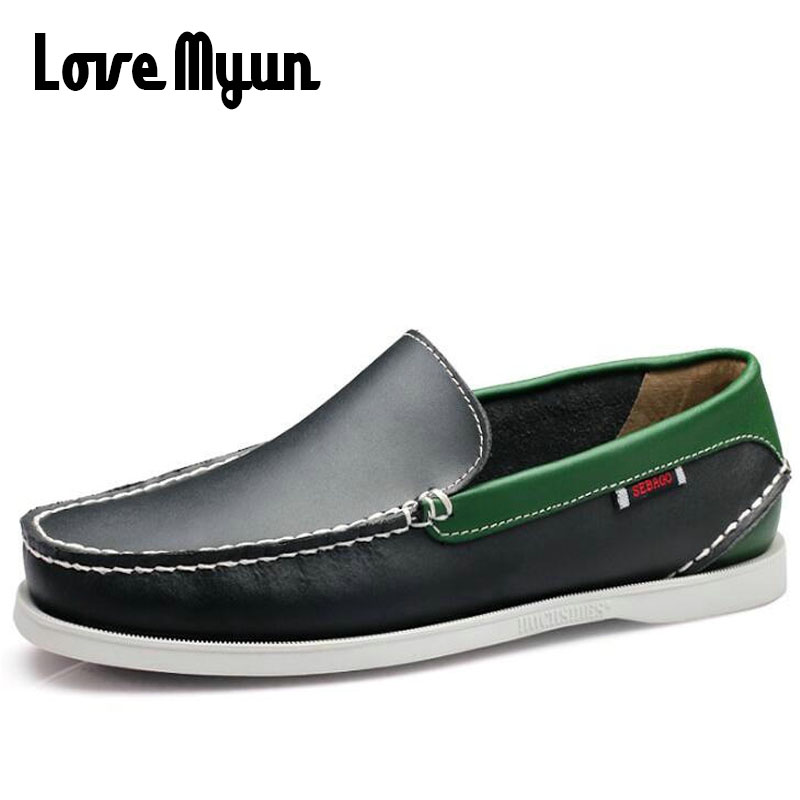 Fashion  handmade Men's Flats Casual Shoes Men Genuine Leather Shoes Black Men Loafers Driving Moccasins Slip On Plus Size KK-19 new summer breathable men genuine leather casual shoes slip on fashion handmade shoes man soft comfortable flats lb b0009