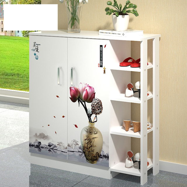 Lk604 Fashion Large Capacity Shoes Cabinet Creative Porch Shoe Organizer White Quality Wooden Storage Rack