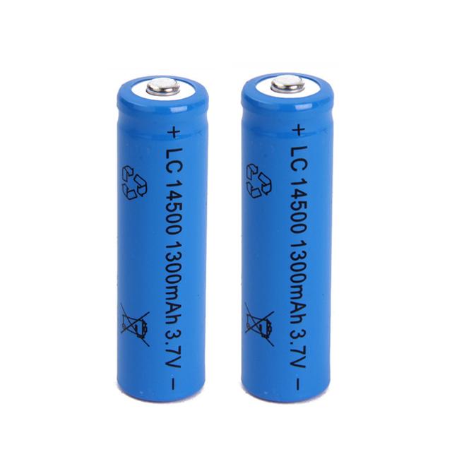 6pcs a lot 14500 battery 3.7V 1300mAh rechargeable li-ion battery 14500 liion battery for Led flashlight 14500 battery 14500