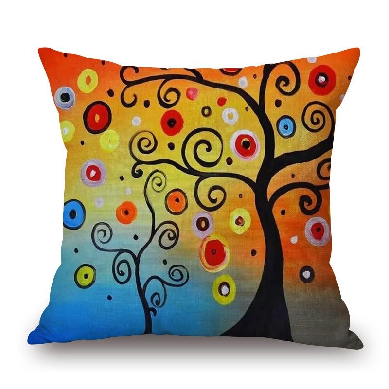 Maiyubo Cushion Cover Colorful Tree Pillow cushion Hidden Zipper Sofa Decorative Throw Pillow Funda Cojin Housse de cousin PC045