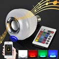 E27 Smart Bulb Light Dimmable 12W RGBW Wireless Bluetooth Speaker Bulb Music Playing LED Light Lamp with 24 Keys Remote Control